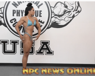 IFBB Pro league Women's Physique Pro Jada Beverly Posing Practice At The NPC Photo Gym.